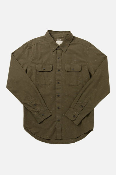 Men's Olive Organic Cotton Donegal Button Up Shirt