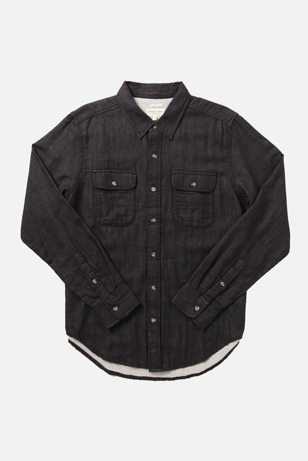 Men's Organic Cotton Double Face Button Up Shirt in Charcoal
