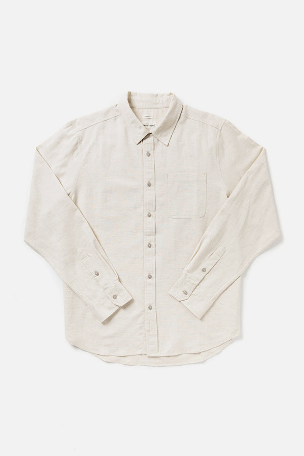 Men's Natural Standard Fit Linen-blend Button Down