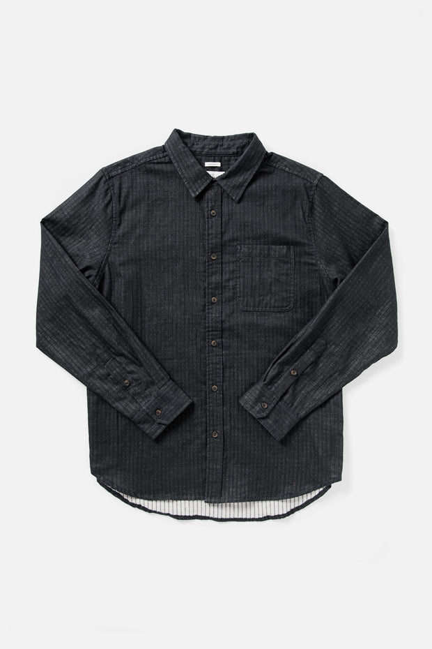 Men's Dark Grey Standard Fit Doublecloth Cotton-blend Button Down