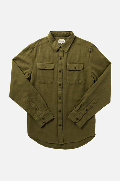 Men's Organic Cotton Heavyweight Herringbone Green Shirt