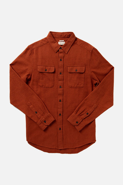 Men's Organic Cotton Heavyweight Herringbone Red Shirt