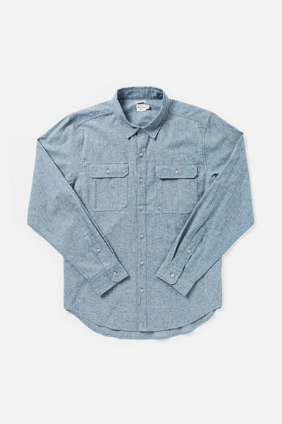 Men's Blue Chambray Standard Fit Cotton Button Up