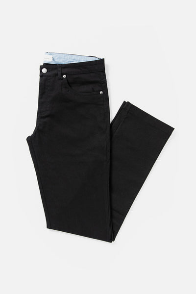 Men's Black Straight Fit Cotton-blend Pant