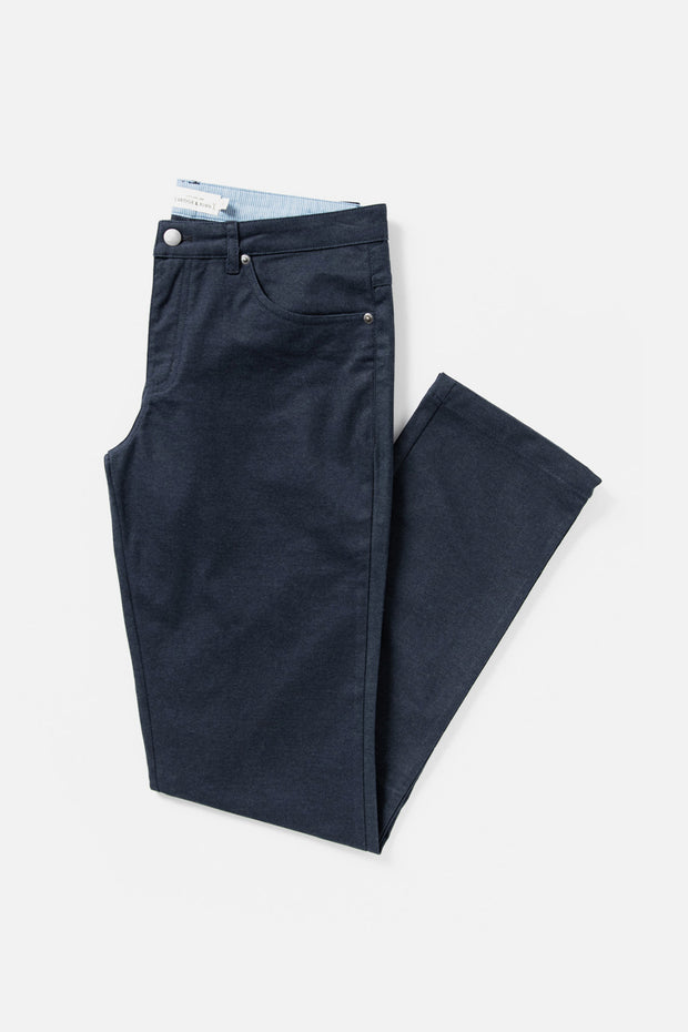Men's Navy Straight Fit Cotton-blend Pant