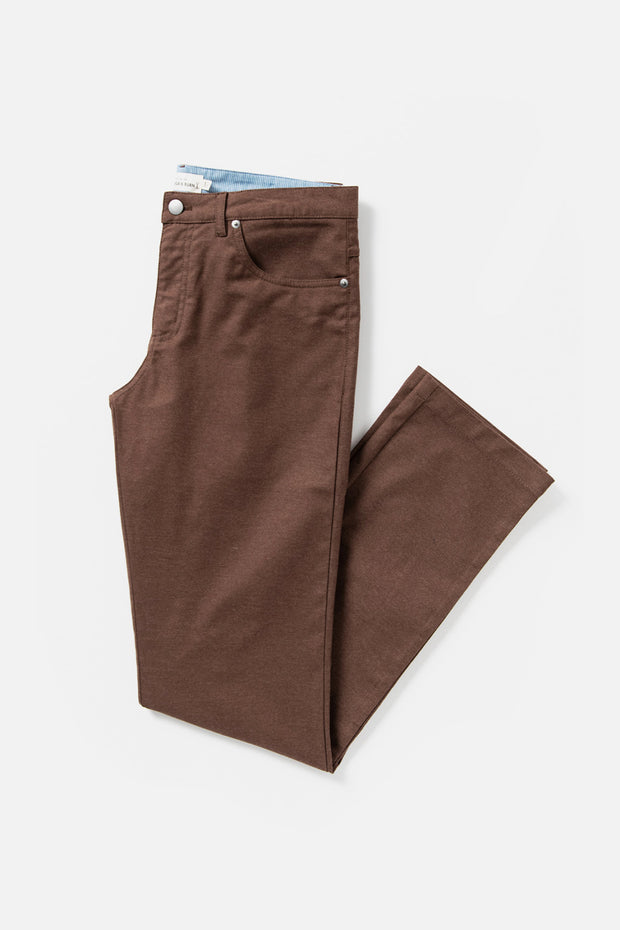 Men's Brown Straight Fit Cotton-blend Pant