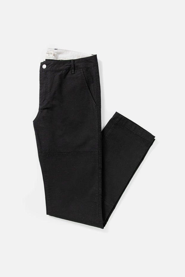 Men's Black Canvas Workwear Straight fit Cotton-blend pant