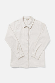 Women's White Cotton-blend Chore Coat