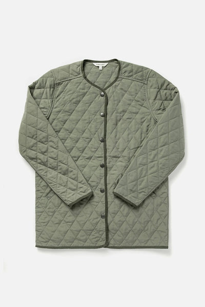 Women's Light Olive Lightweight Nylon Quilted Jacket