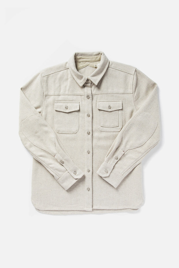 Women's Cream Unlined Button down Overshirt