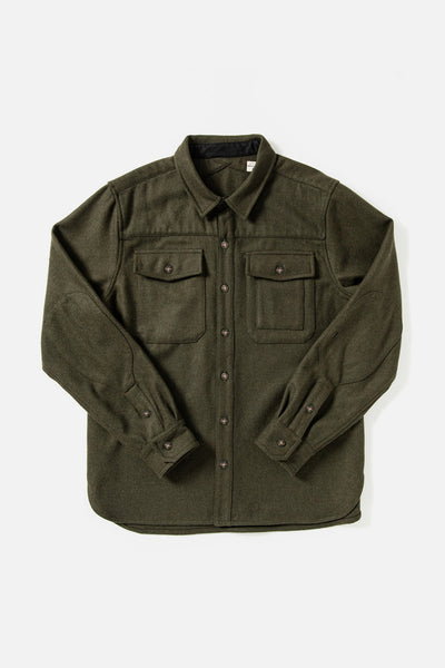 Women's Olive Unlined Button down Overshirt