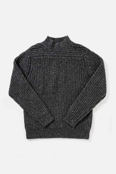Women's Dark Grey Oversized Mockneck Wool-blend Sweater