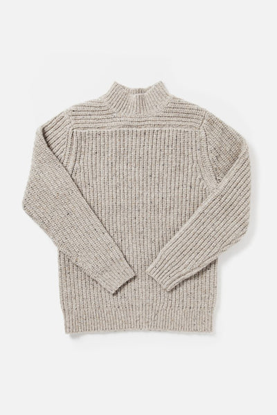 Women's Tan Oversized Mockneck Wool-blend Sweater