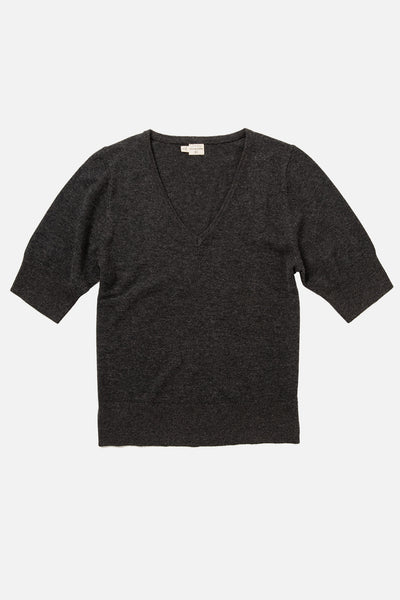 Women's Wool Blend Short Sleeve Charcoal Sweater