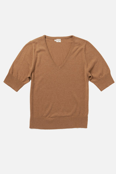 Women's Wool Blend Short Sleeve Camel Sweater