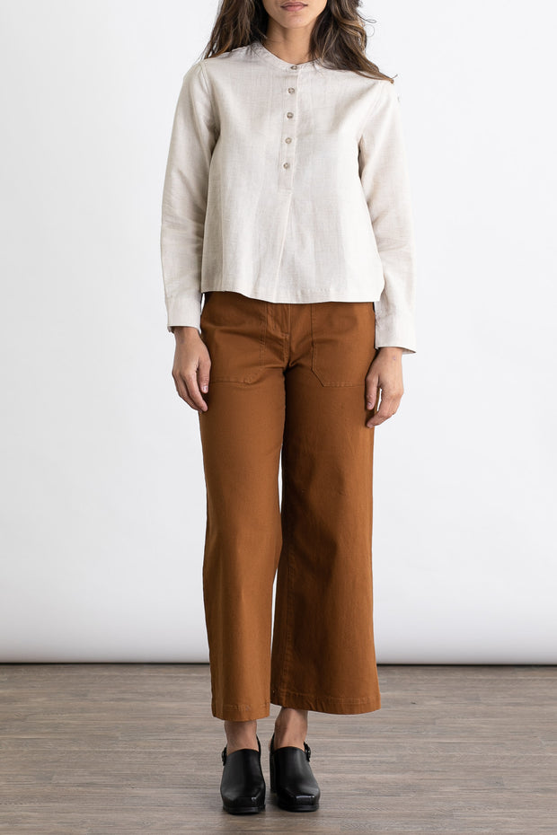 Maren natural half placket blouse