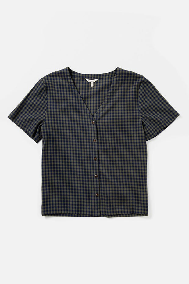 Women's Navy and Olive Gingham Short Sleeve V Neck Button Up Top