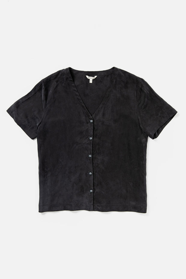 Women's Black Short Sleeve Button Up Top