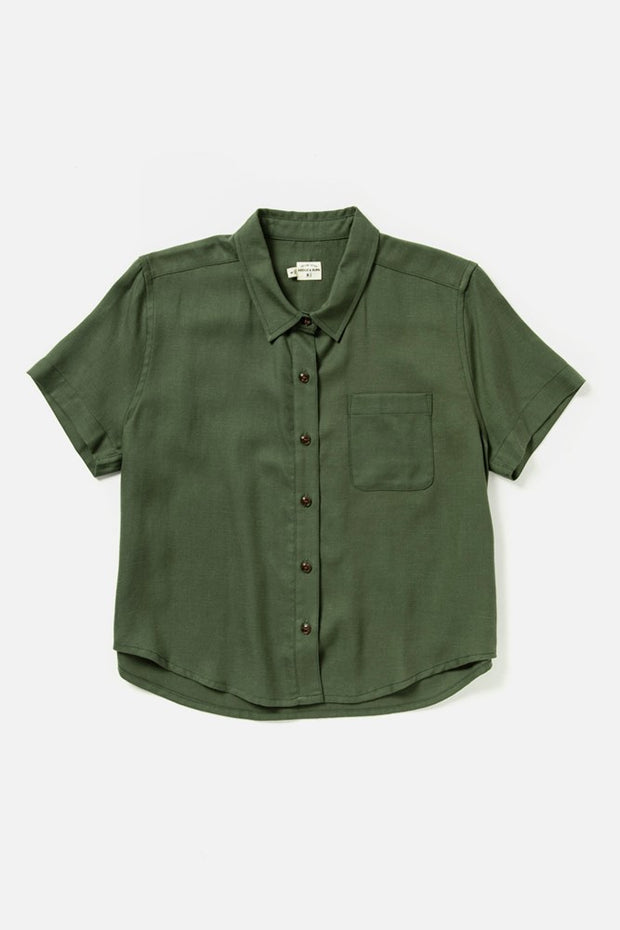 Women's Green Tencel-blend Cropped Button Up Short Sleeve Top