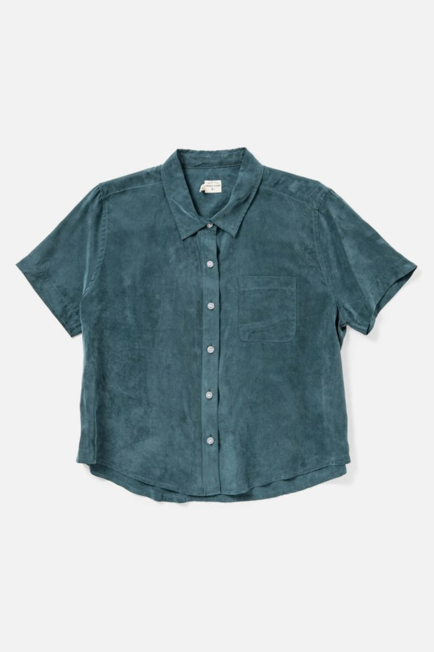 Women's Teal Cupro-blend Cropped Button Up Short Sleeve Top