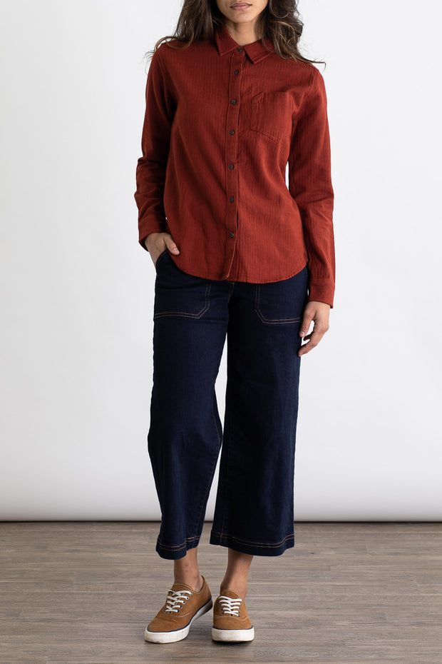 Women's Red Organic Cotton Work Shirt