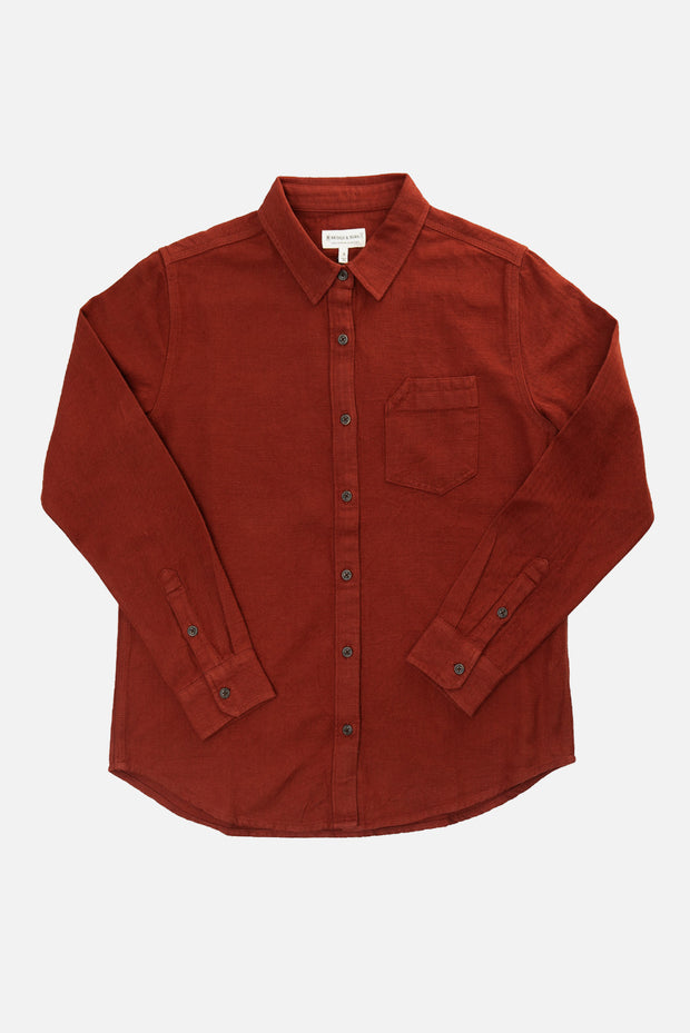 Women's Red Long Sleeve Button Up Cotton Work Shirt