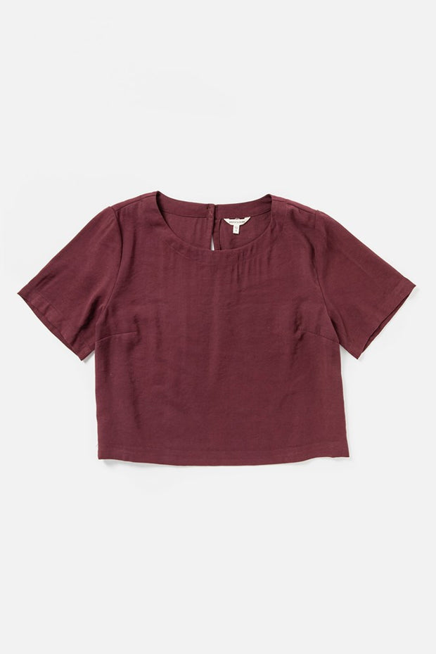 Women's Burgundy Rayon-blend Boatneck Cropped Short-Sleeve Shirt