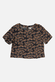 Women's Black Floral Print Rayon Boatneck Cropped Short-Sleeve Shirt