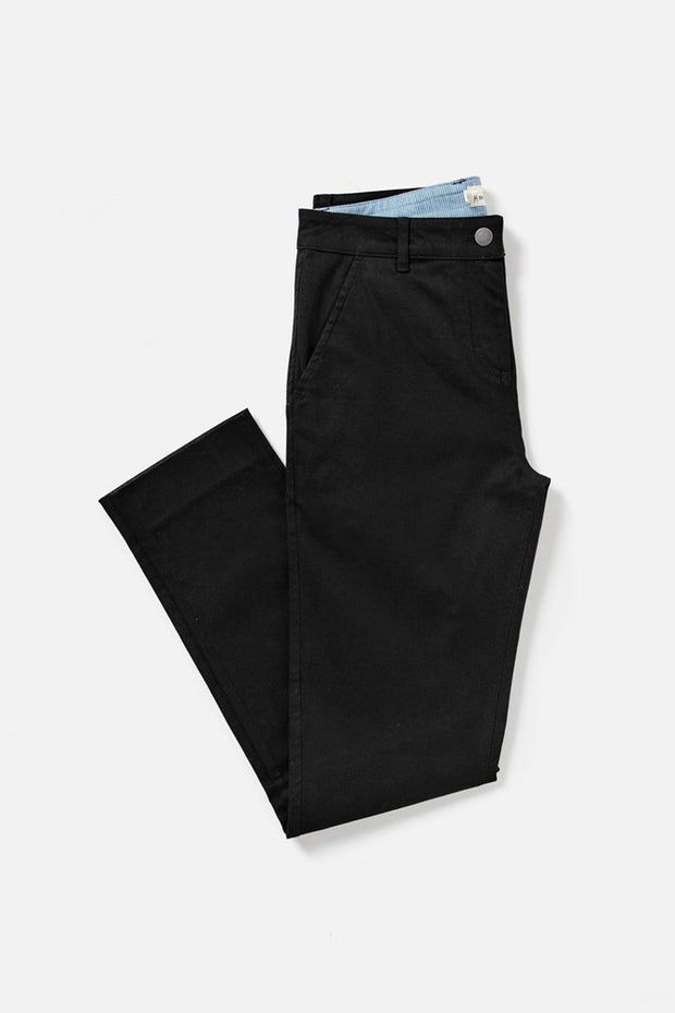 Women's Black Mid-rise Straight-leg Cotton-blend Pant