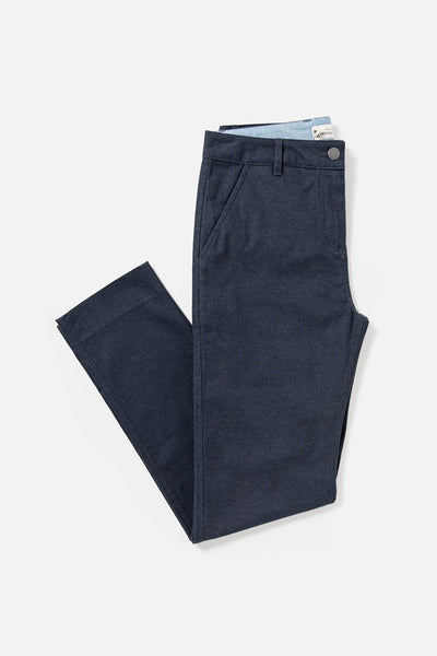 Women's Navy Mid-rise Straight-leg Cotton-blend Pant