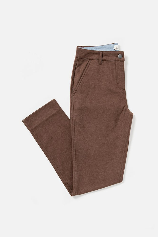 Women's Brown Mid-rise Straight-leg Cotton-blend Pant