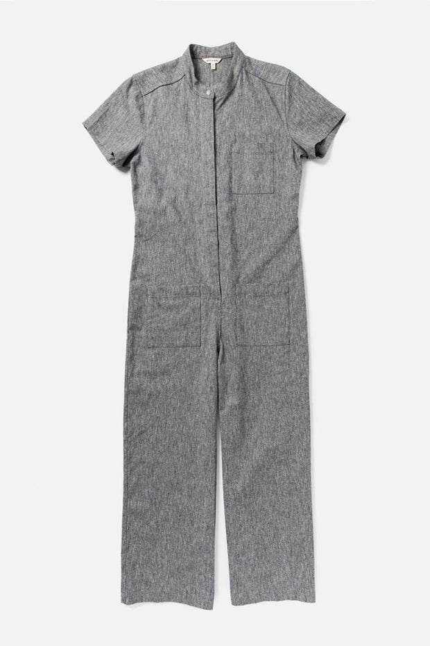 Women's Navy Relaxed Workwear Short Sleeve Jumpsuit