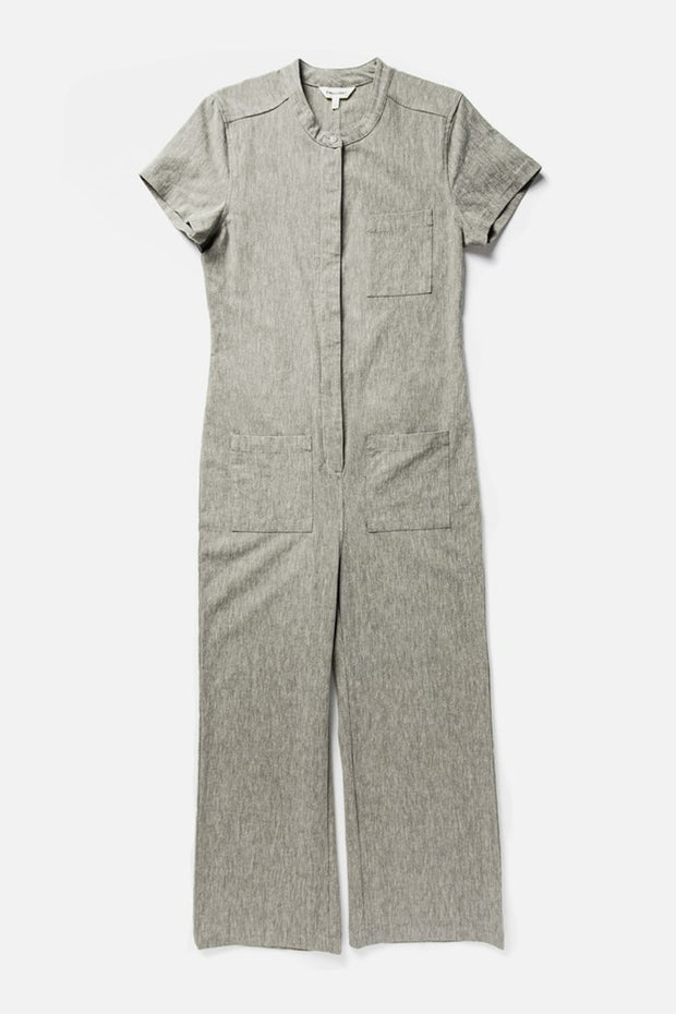 Women's Olive Relaxed Workwear Short Sleeve Jumpsuit