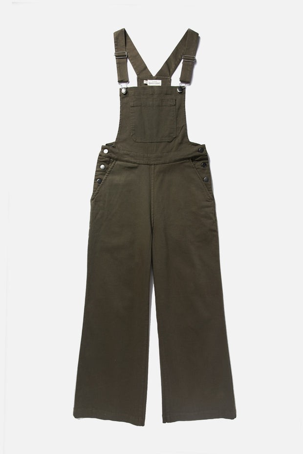 Women's Wide Leg High Rise Olive Green Overall