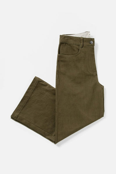Women's Olive High-waist Wide Leg Cotton Blend Pant