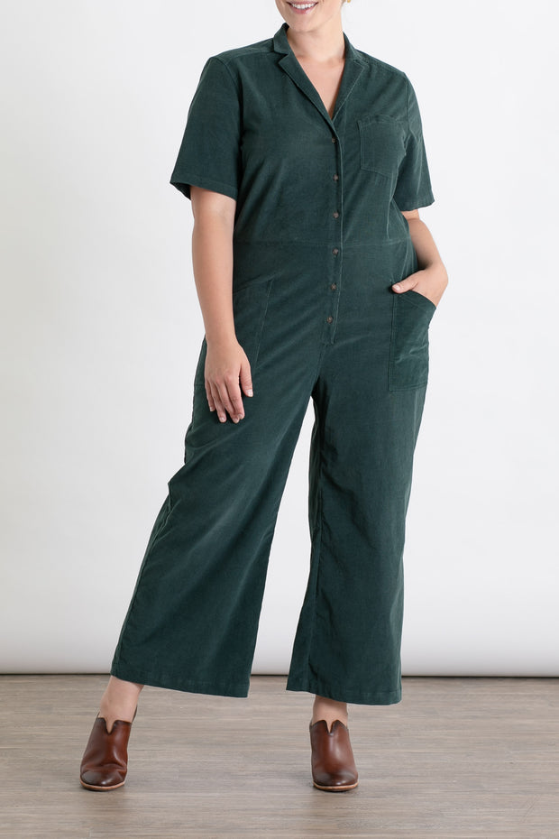 Women's Green Corduroy Jumpsuit