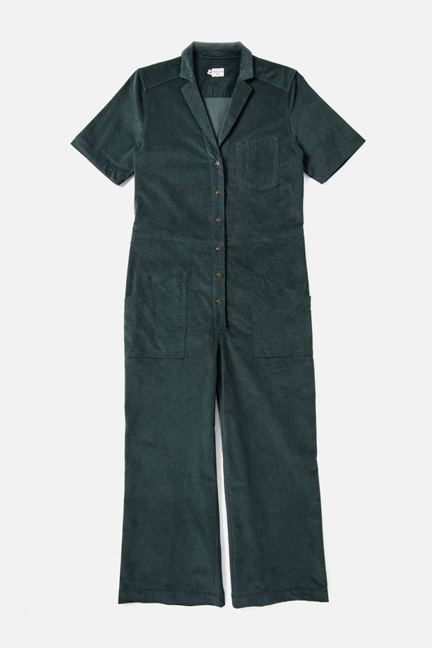 Women's Teal Front Button Cotton-blend Corduroy Jumpsuit