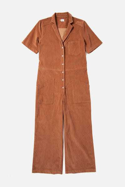 Women's Tan Front Button Cotton-blend Corduroy Jumpsuit