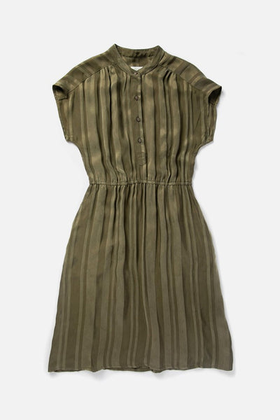Women's Olive Striped Rayon-blend Elastic Waist Dress