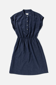 Women's Navy Poly-blend Elastic Waist Dress