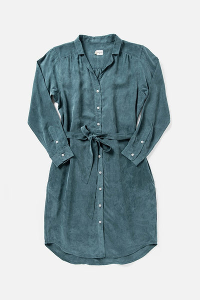 Women's Teal Relaxed Button Front Shirt Dress With Belt