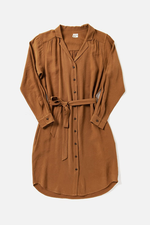 Women's Camel Relaxed Button Front Shirt Dress With Belt