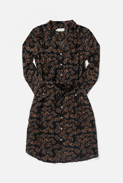 Women's Black Floral Printed relaxed Button Front Shirt Dress With Belt