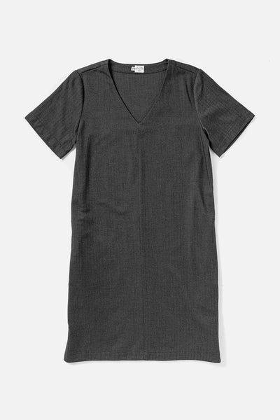 Women's Grey Tencel-blend Short Sleeve Relaxed Shift Dress