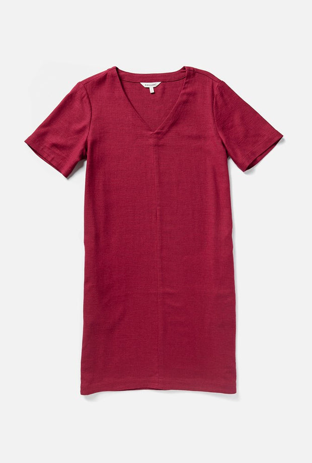 Women's Red Linen-blend Short Sleeve Relaxed Shift Dress