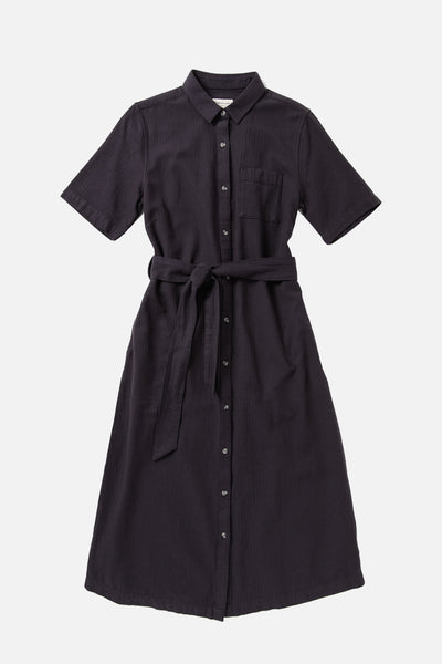 Women's Black Cotton Button Front Short Sleeve Midi Dress