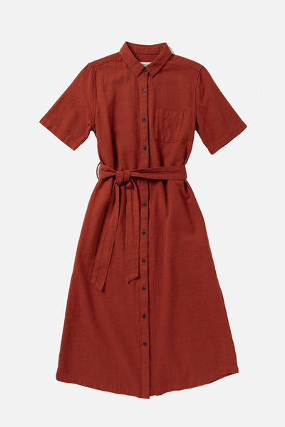 Women's Red Cotton Button Front Short Sleeve Midi Dress