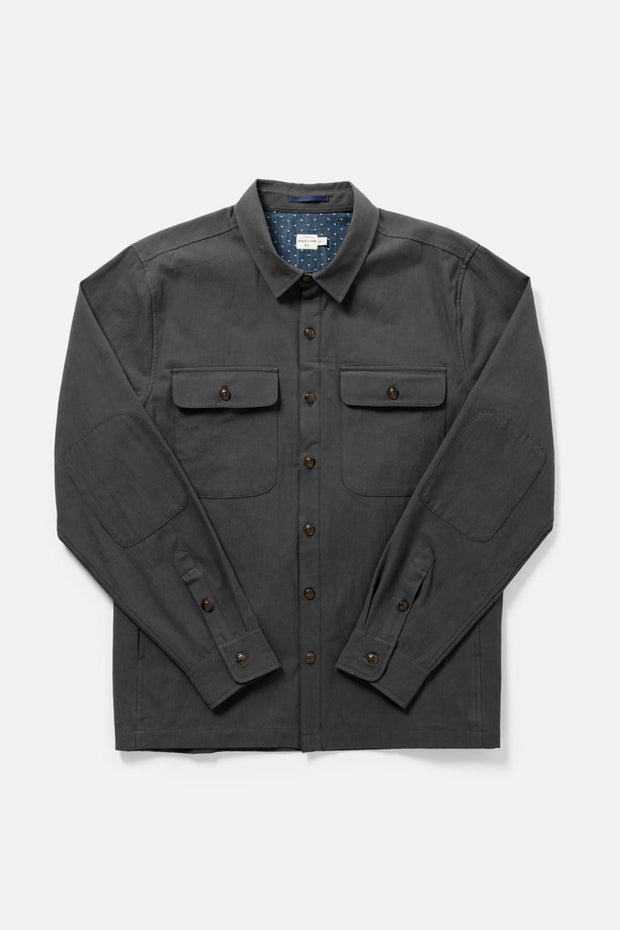 Men's Charcoal Cotton Canvas Button-Up Overshirt