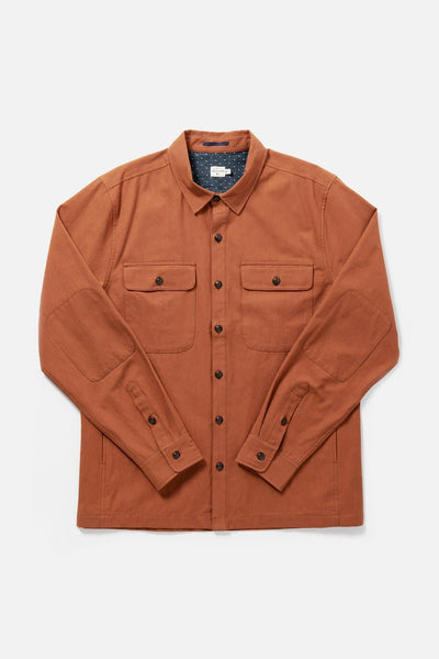 Men's Orange Cotton Canvas Button-Up Overshirt