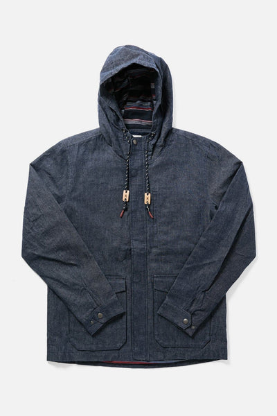 Men's Denim Hooded Waxed Canvas Rain Coat